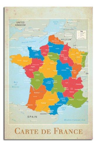 Carte Satin (Carte De France Map Poster Satin Matt Laminated - 91.5 x 61cms (36 x 24)