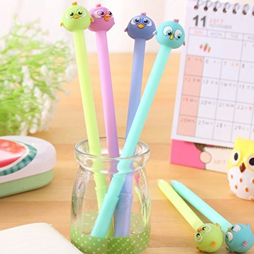 (Gydthdeix 12 Pcs 0.38mm Colorful Cute Kawaii Adorable Bird Animal Cartoon Emoji Plastic Silicone Black Ballpoint Writing Gel Ink Pens for Office School Children Kid Gift Stationery Supplies Set)