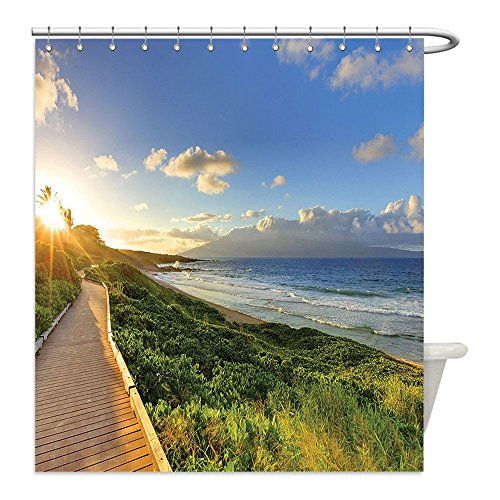 Liguo88 Custom Waterproof Bathroom Shower Curtain Polyester Seaside Decor Collection Exotic Fantastic Beach Walk over the Grass at Sunset with Horizon Mystical Journey Green Cream Blue Decorative - Sunset The Galleria At