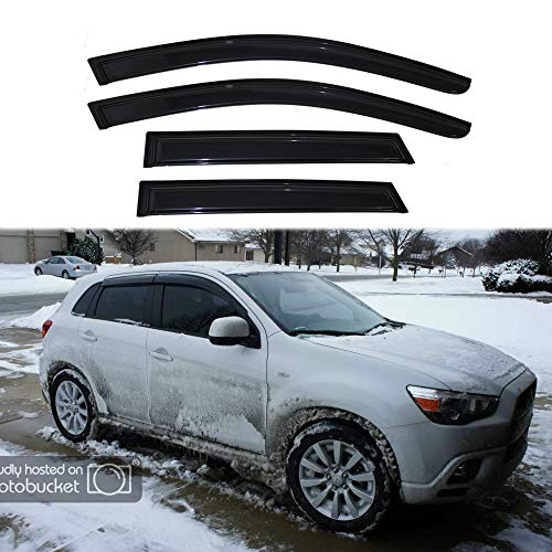 JJ 94191 4pcs For 2011-2015 Mitsubishi Outlander Sport Sun Rain Wind Guard Vent Shade Side Deflectors Window Visors Out-Channel