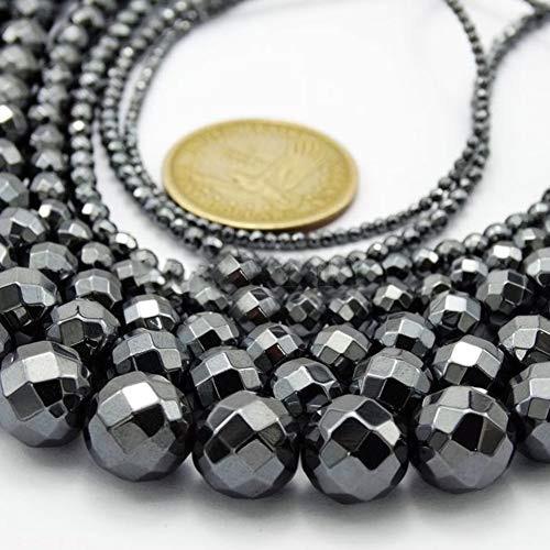 ywbtuechars DIY Charms 15.5inch Black Hematite Gemstone Faceted Round Loose Beads Full Strand 3-10mm - 10mm ()