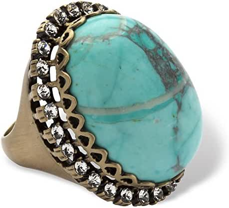 Copper-plated Antiqued Oval Shaped Simulated Turquoise and Round Crystal Ring