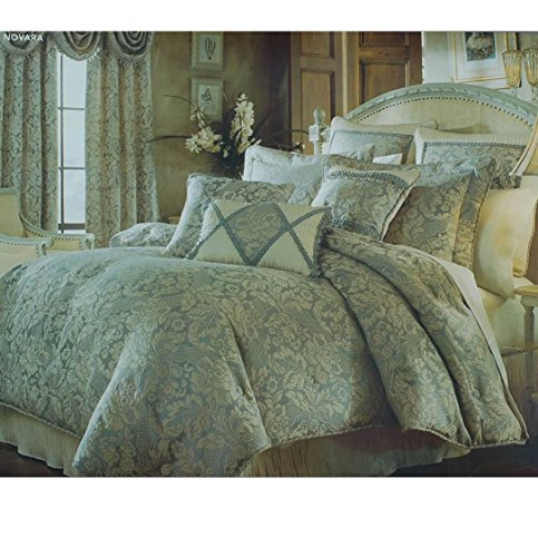 Croscill Home Novara 6 Pc Beige/Slate Damask Floral Comforter Set, Queen, Euro ()