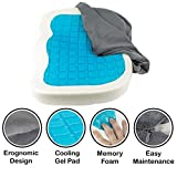 Orthopedic Gel Comfort Memory Foam Seat Cushion, Office Chair Wheelchairs and Car Gel Seat Pads, For Coccyx Lower Back Support, To Relieve Back & Tailbone Pain and Sciatica (Grey)