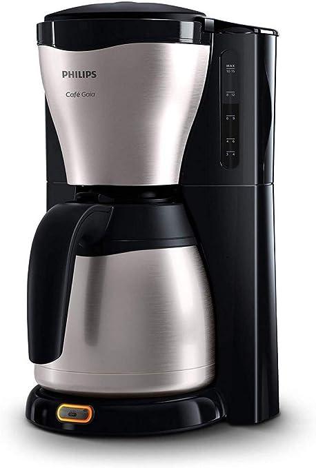 Oferta amazon: Philips HD7546 HD7546/20-Cafetera de Goteo café Gaia, Jarra térmica con Capacidad para 10-15 Tazas, 1000 W, 14 Cups, Acero Inoxidable, Negro/Plata