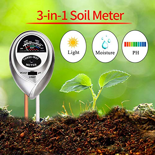 WINZOOM Soil Tester,3-in-1 Soil Test Kit with Moisture,Light and PH Test,Soil Moisture Meter,Great for Garden, Lawn, Farm, Indoor & Outdoor Use (Silver)