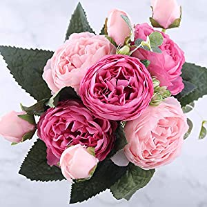 You Are My Eye 30cm Rose Pink Silk Peony Artificial Flowers Bouquet 5 Big Head 4 Bud Fake Flowers Home Wedding Decoration,Pink 4