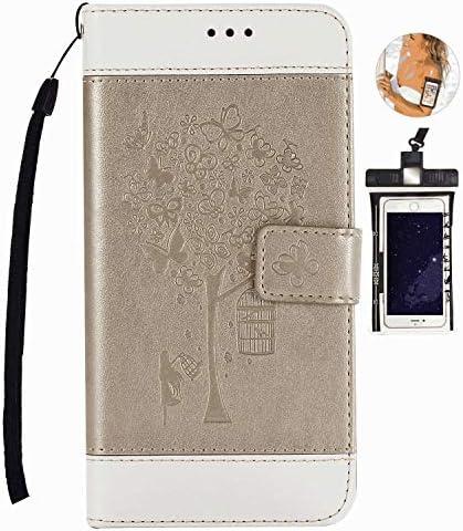 全面保護 手帳型 Samsung Galaxy S8 PLUS ケース 本革 レザー カバー 対応 耐摩擦 軽量 保護ケース スマートフォンケース [無料付防水ポーチケース]