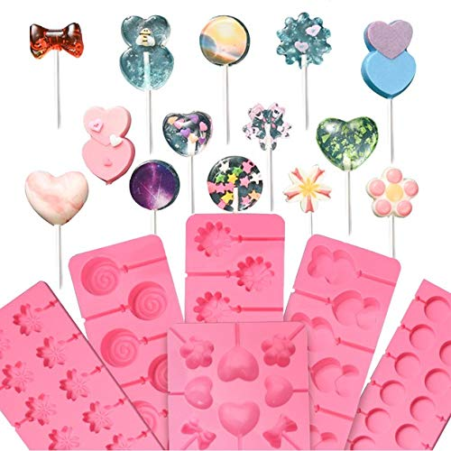 - 6 Pieces Jumbo Silicone Lollipop Molds, Chocolate Hard Candy Mold with 80 Sucker Sticks for Baking,Random Color