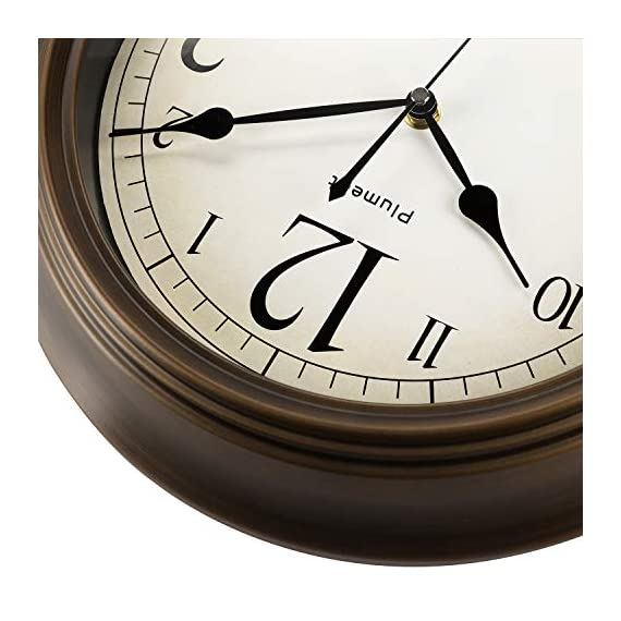 Plumeet Large Retro Wall Clock - 13'' Non Ticking Classic Silent Clocks Decorative Kitchen Living Room Bedroom - Battery Operated (Big Numbers) - 🕗 Plumeet advantage -- Vintage look; large size-13 inch; no ticking super quiet movement; big arabic numerals clear to read. large decorative for home & office, best gift for your family or friends. 🕗 Superior Movement Quality -- Reliable clock mechanism to guarantee accurate time, quiet sweep second hands ensure a good sleeping and work environment, this clock will definitely impress you. 🕗 Western Classical Style -- Antique and vintage style decoration, with practical and beautiful combination. clear display and convenient to read time with large number inside, very aesthetically pleasing. - wall-clocks, living-room-decor, living-room - 516rCg6Pa2L. SS570  -