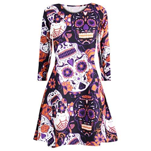 Clearance Sale! Wintialy Women Long Sleeve Skull Bat Halloween Evening Prom Costume Swing Dress (Classic Bat Bamboo Baseball)