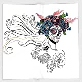 Cotton Microfiber Hand Towel,Gothic Decor,All Souls Day Mexican Holiday Celebration Female Head Muertos Roses Pattern,for Kids, Teens, and Adults,One Side Printing