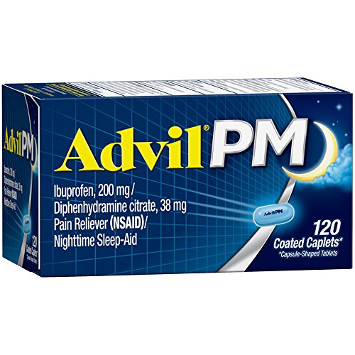 Advil PM (120 Count) Pain Reliever/Nighttime Sleep Aid Coated Caplet, 200mg Ibuprofen, 38mg Diphenhydramine (Nighttime Relief Caplets)