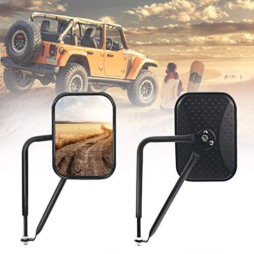 Bentolin Rectangular Door Off Mirror Adventure Door Hinge Side View Mirrors for 2007-2018 Jeep Wrangler JK JKU CL JLU, 1Pair-Textured - Jeep View Side Mirrors Wrangler