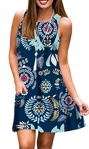 Tshirt Dresses for Women Summer Beach Boho Sleeveless Floral Sundress Pockets Swing Casual Loose Cover Up(Blue Flower,S)