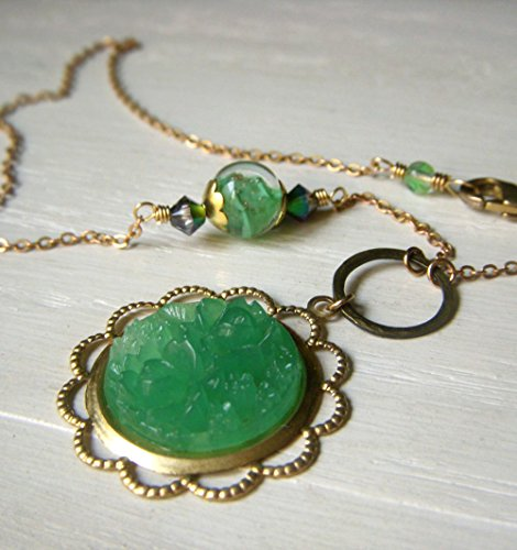 Jade Green Pendant Necklace, Vintage Style, Murano Beads, Carved Japanese Art Glass Floral Cabochon