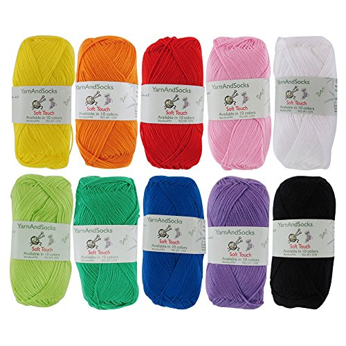 Soft Touch 100% Arcylic Yarn 4X 50g Regular Balls, 4 Skein Assorted Color Surprise ()