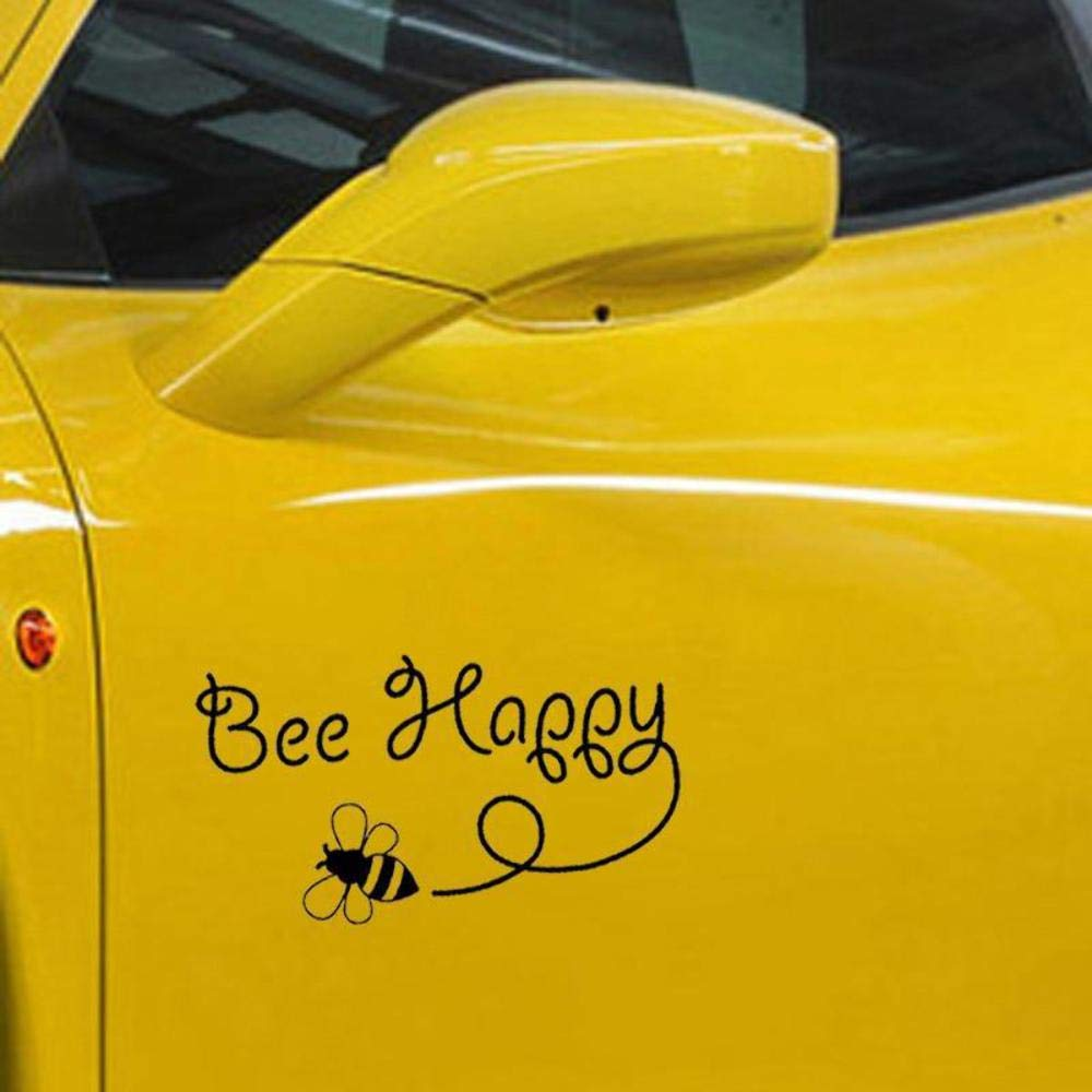 Bee Happy Bumblebee Fun Window Bumper Sticker Vinyl Decal 15.4CM x 8.5CM