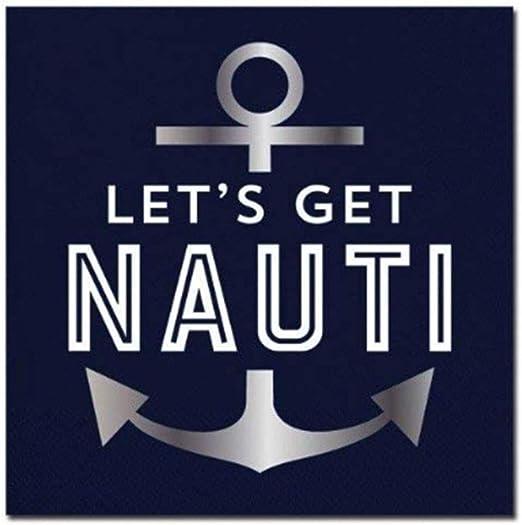 "Coastal Beverage Napkins 20 Ct 2-Ply NAUTICAL ELEMENTS  9 4//5/"" x 9 3//4/"""