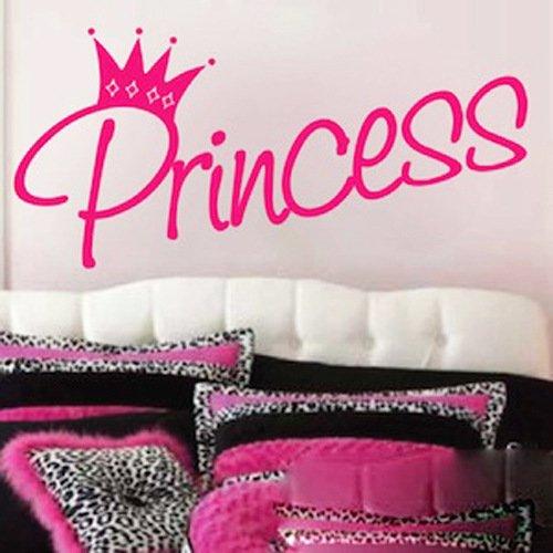 Dailinming PVC Wall Stickers English PRINCESS Wangguan Gong master bedroom bed children's room decorWallpaper27.9cm x 61cm-Pink