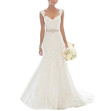 Vestido de novia de Encaje de Las Mujeres Ailin Home (Tamaño : 18)
