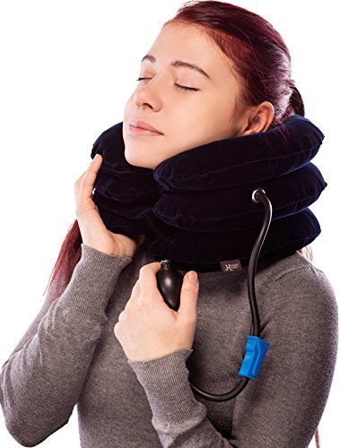 (Pinched Nerve Neck Stretcher Cervical Traction Device for Home Pain Treatment | Inflatable Spinal Decompresion Collar Unit Muscle Strain Injury Relief | Herniated Disc Problems Remedy Kit by K'Smarts)