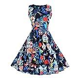 iDWZA Women's Retro Halloween Sleeveless Print Evening Party Prom Skirt Dress(S,Blue)