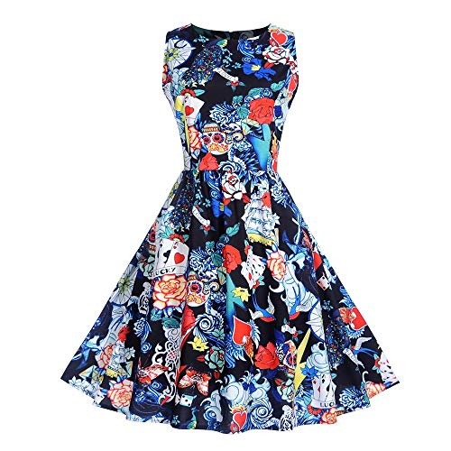 Hot Sales,DEATU Halloween Womens Dresses Ladies Sleeveless O Neck Printing Elegance Evening Party Prom Swing Dress(Blue,L) -