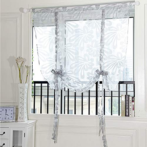 BeautyShe Sheer Curtains Length-Back Tab and Rod Pocket Voile Drape Curtains for Living Room 3.6ft x 2.6ft