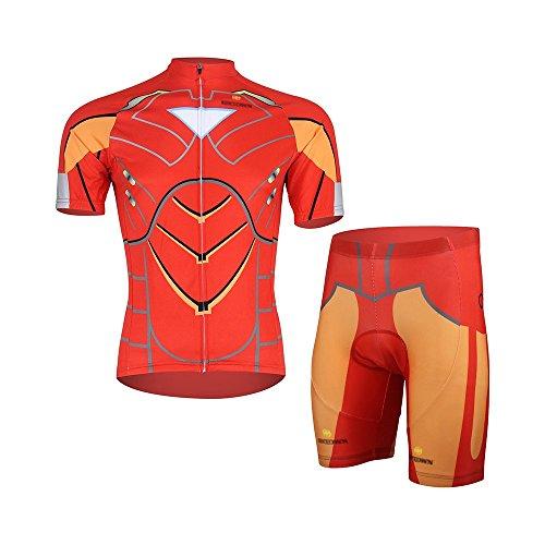 Cplus Sportware Men Short Sleeve IronMen Cycling Gel Pad Jersey Set L ()