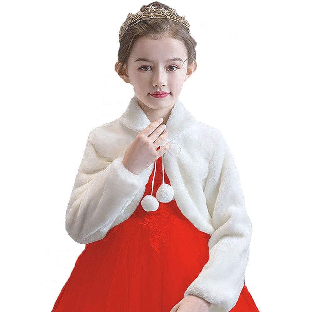 Kids Girls Faux Fur Bolero Jacket Ivory Shrug Princess Bridesmaid Long Sleeve Cardigan for Wedding Party Dress 1-12Y