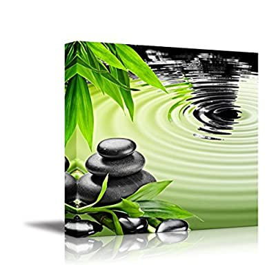 Canvas Wall Art - Zen Basalt Stones and Bamboo | Modern Home Art Canvas Prints Giclee Printing Wrapped & Ready to Hang - 12
