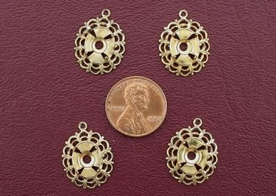 FOUR BRASS 10x8 FILIGREE CABOCHON - Filigree Mounting