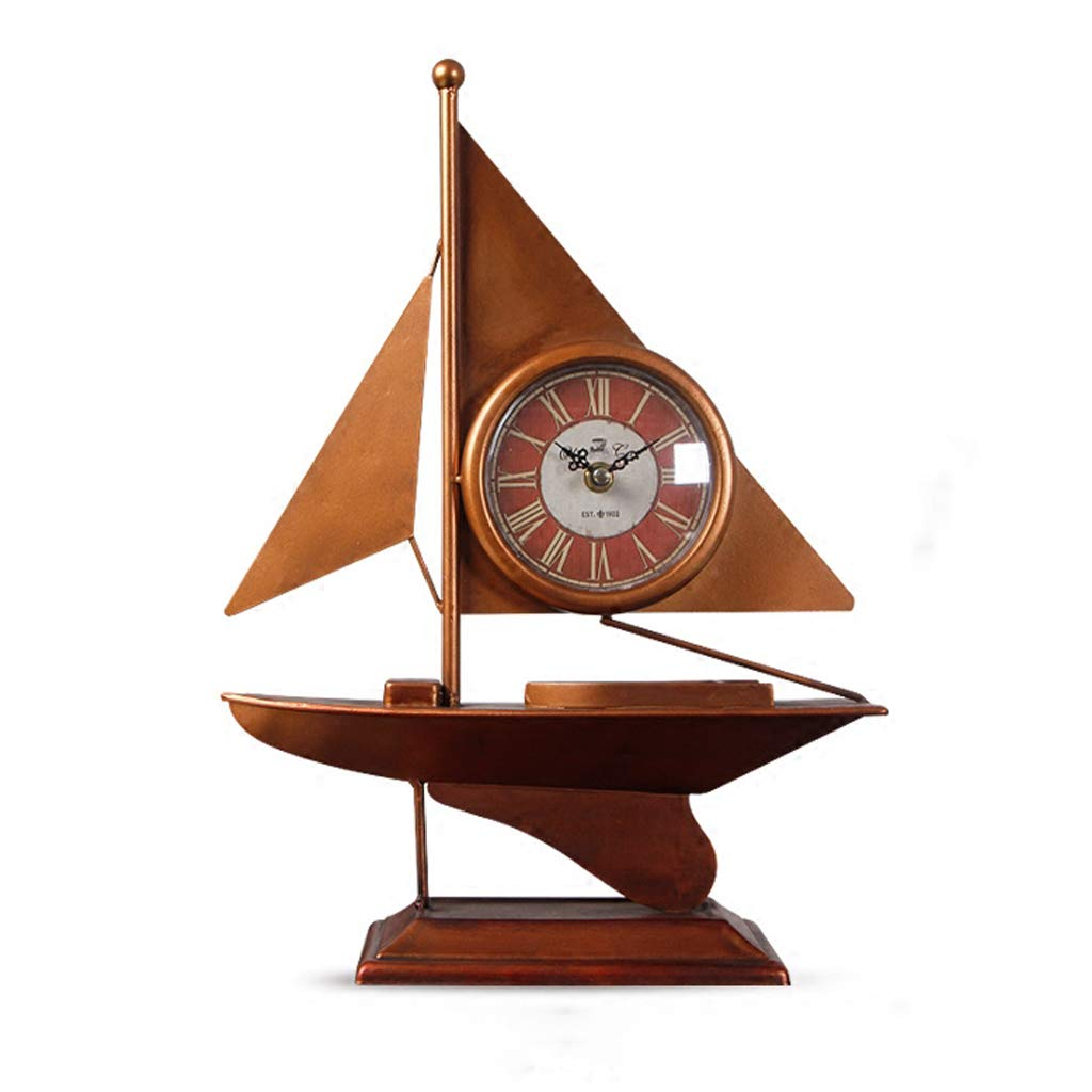 JIAHE115 Jiale Metal Table Clock-HJCA Household Personality Clock Hotel Creative Sailing Decoration Decoration Clock (3.93×11×15.7 Inches)