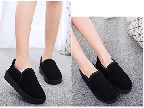 Black Slip Shoes Snow Ankle Women's Lined Fur Loafers LabatoStyle On Boots Walking Winter 7BpxwY