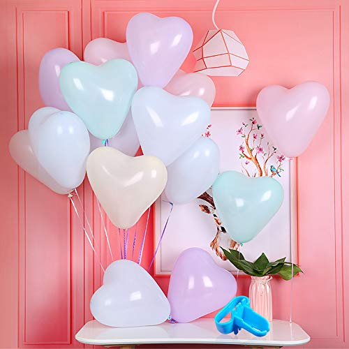 Loves Town 100pcs Pastel Balloons Set, 10inch Latex Balloons Heart-Shaped Balloon Party Balloons 2 Balloon knotter Balloon Accessories for Wedding Graduation Party]()