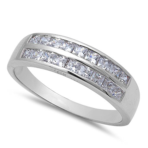 1CT 18 Princess Cut Fine Cz Wedding Engagement Band .925 Sterling Silver Ring Size 9