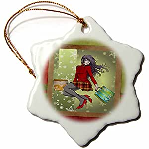 3dRose LLC Anime Christmas Shopper 3-Inch Snowflake Porcelain Ornament