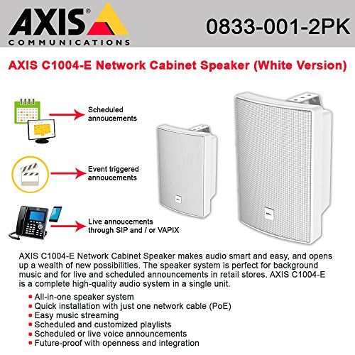 AXIS C1004-E Network Cabinet Speaker White w/ single cable PoE 2-UNITS by AXIS COMMUNICATION INC.