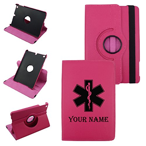 IPad Mini 1,2,3 MEDICAL SYMBOL, Leather Rotating Case 360 Degrees Multi-angle Vertical and Horizontal Stand with Strap (Hot Pink) (Medical Symbol)