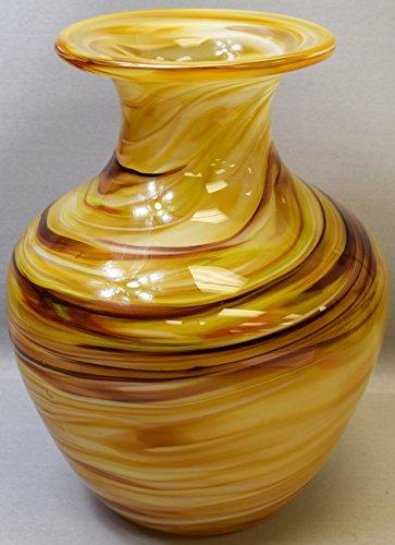"Sea Creations New 11"" Hand Blown Glass Art Vase Tan Swirl Decorative Handmade"