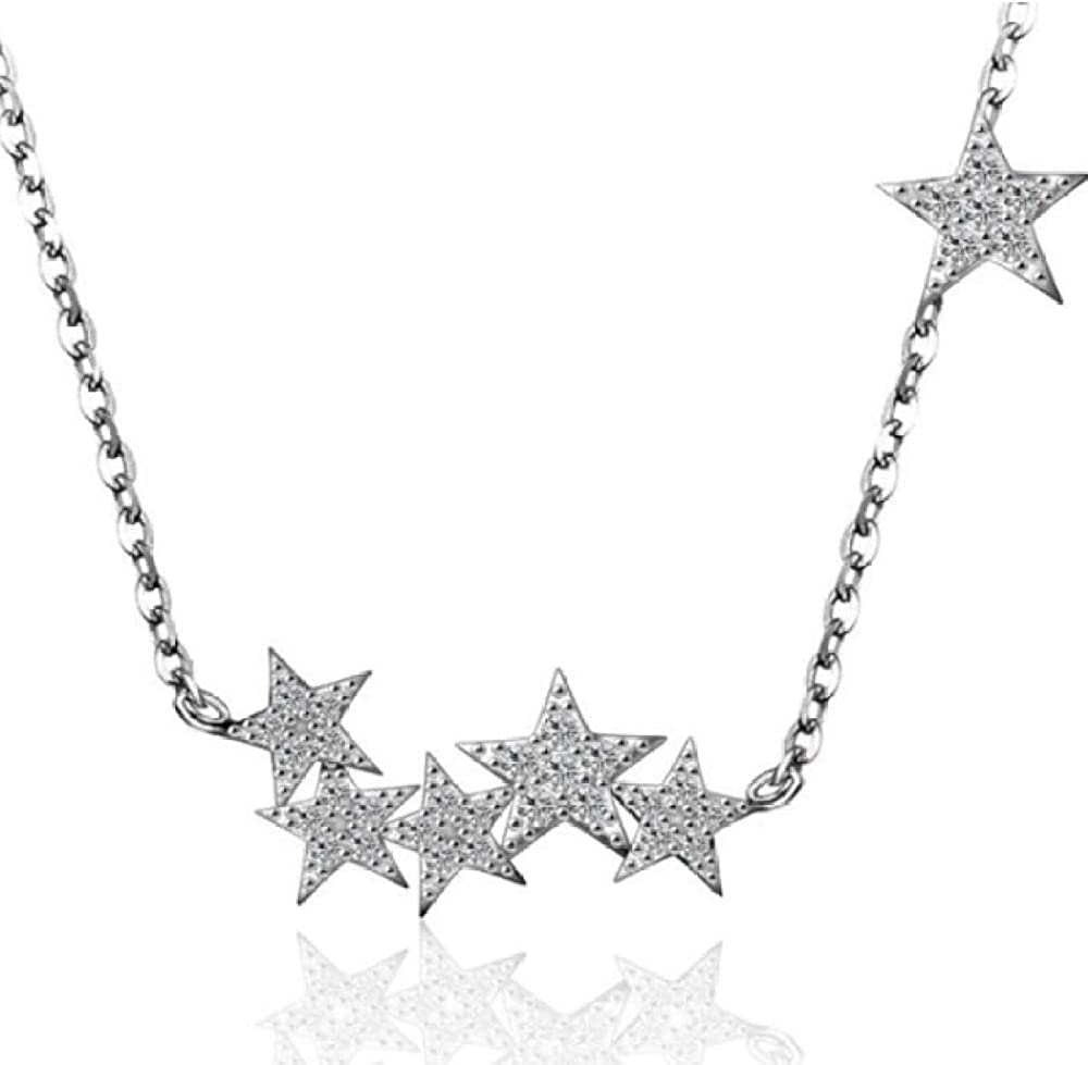 Silver Necklace 925 Sterling Silver Jewelry Temperament Beautiful Little Star Zircon Pendant Necklace Anti-Allergy