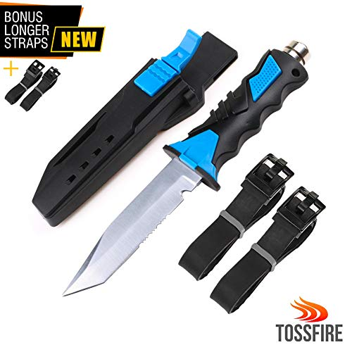 Dive Knife for Scuba Diving with Leg Strap Sheath, Stainless Steel Ergonomic Tactical Knife for Snorkeling Survival Spearfishing with Double Edge Sharp Blade and Lock Release Button