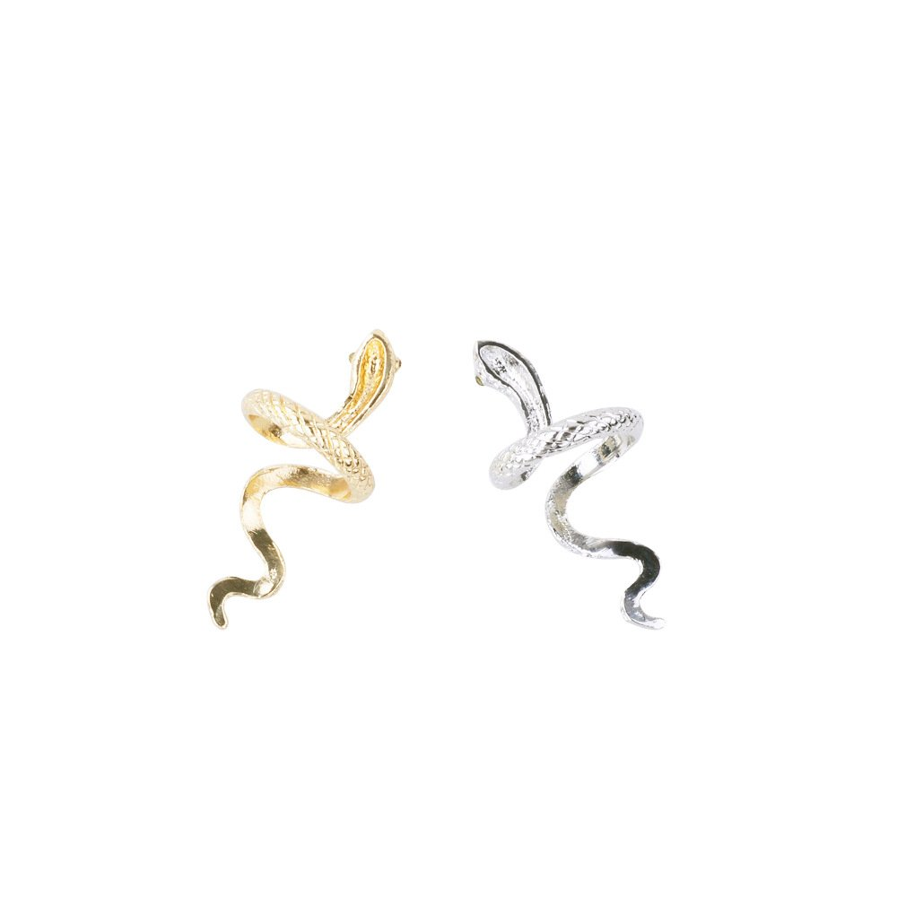 Gold Silver Snake Stud Earrings Personalized Ring Charm Nature Animal Earring Jewelry Set for Women
