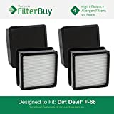 4 - Dirt Devil F66 (F-66) Allergen HEPA Filters with Foam Insert. Designed by FilterBuy to fit Dirt Devil Dirt Devil Featherlite Upright Model # UD70100. Replaces Dirt Devil F66 Part # 304708001.