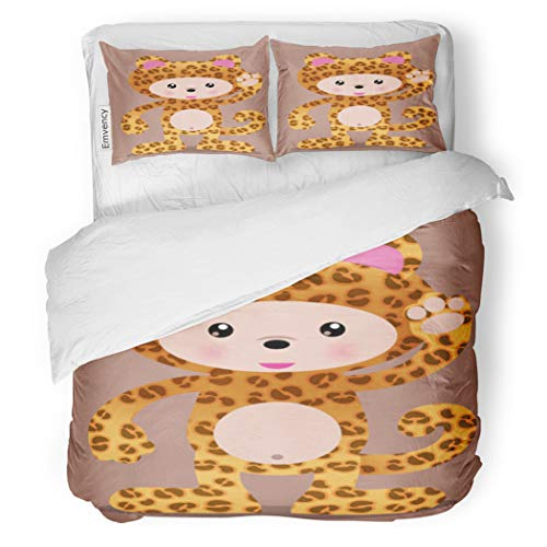 SanChic Duvet Cover Set Anime Cute Leopard Cheetah Manga Halloween Zoo Adorable Decorative Bedding Set with 2 Pillow Cases Full/Queen Size -