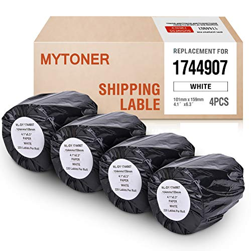 MYTONER 4 Rolls Compatible with DYMO 1744907 Labels 4 x 6 inch(104mm x 159mm) for 4XL Internet Postage Extra-Large 4x6 inches Package & Shipping Label for LabelWriter 4XL Label Printer & More (Dymo Labelwriter 4xl 4 X 6 Label Printer)