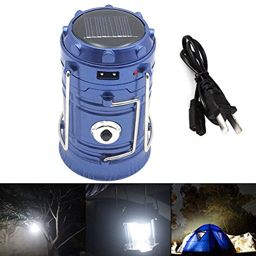Labu Store Outdoor Flashlights Luminaire LED 6LEDs Solar Power Collapsible Portable LED Rechargeable Hand Lamp Camping Lantern Light by Labu Store