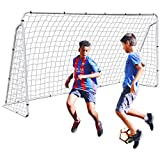 F2C 12 x 6 Foot Soccer Goal Steel Frame with Net for Kids, Heavy Duty Backyard Football Shooting Training Aid with Carry Bag,