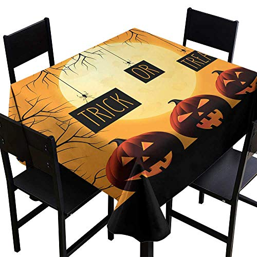 OUTDRART Table-Cloth Home Decoration Halloween Poster with Pumpkins and Spiders Holding Board Trick or Treat Handwritten Text,W50 x L50 Square Tablecloth ()